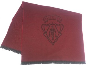 Gucci Gucci Crest 100% Lana Wool Red/Brown Scarf #344993