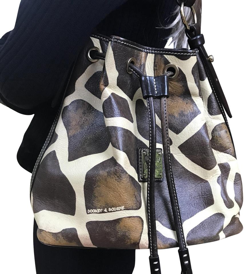 Dooney Bourke Animal Print Giraffe Leather Bucket Style Drawstring Shoulder Bag