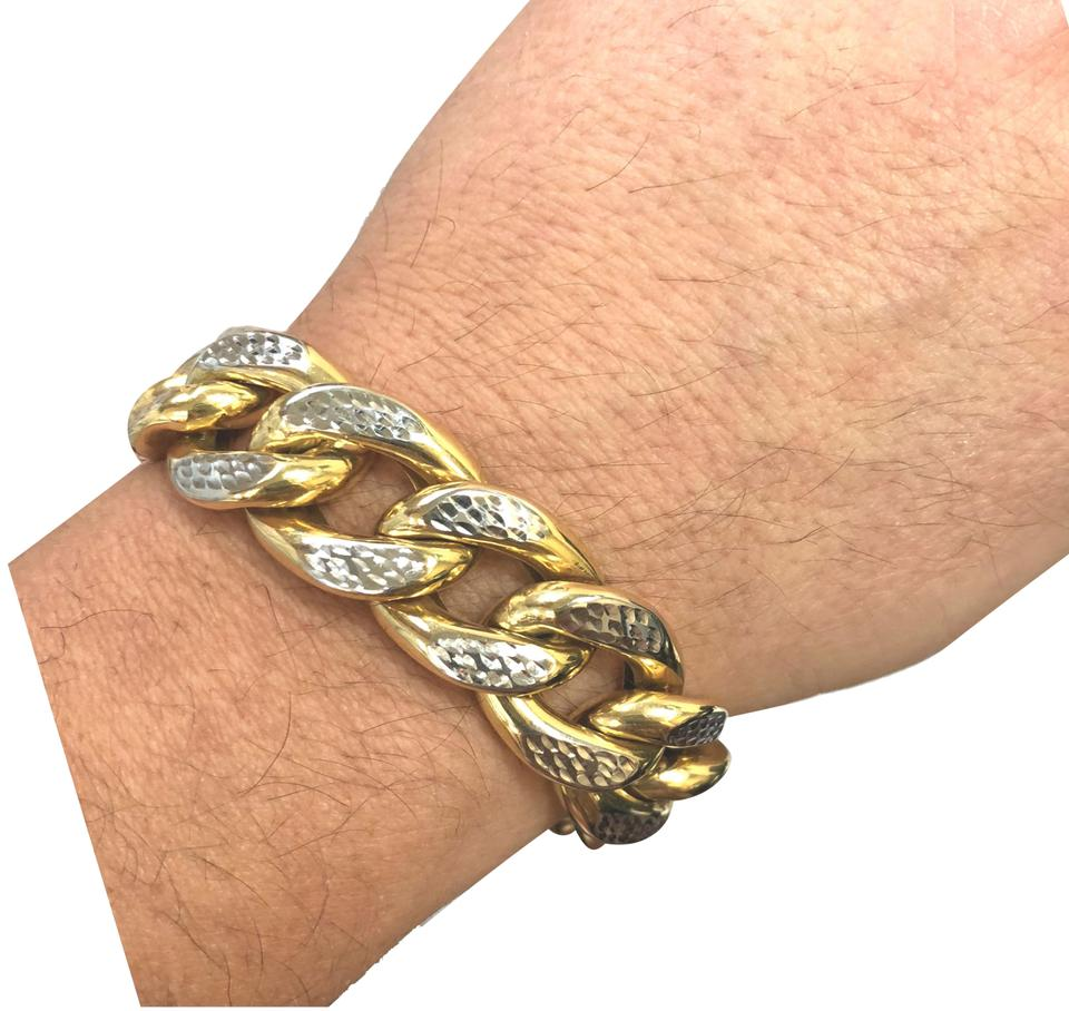 Other 14k Yellow Gold White Pave Cuban Link Chain 15mm Men S Bracelet