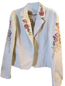 Embroidered Unique Corduroy CREME WHITE Jacket