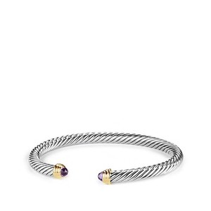 David Yurman sterling silver Cable Bracelet with Amethyst and 14K Gold