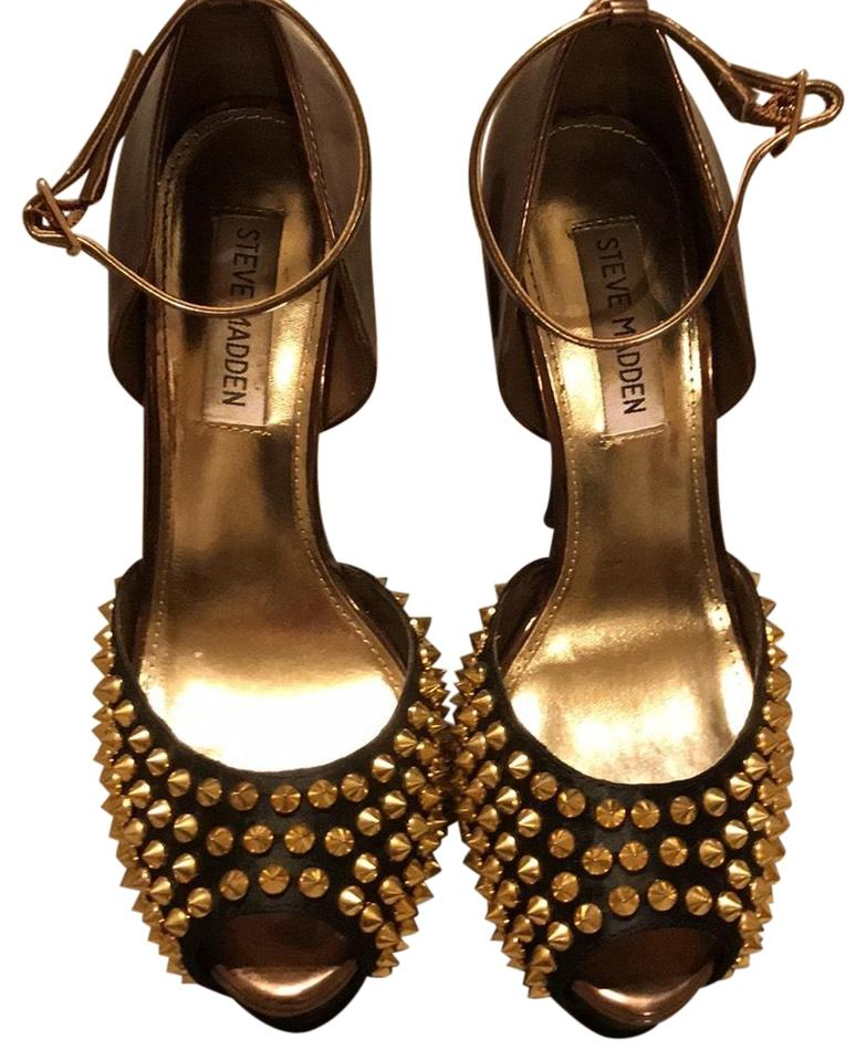 e503563c3471 Steve Madden Black Brown Gold Studded Platforms Size US 7.5 Regular ...