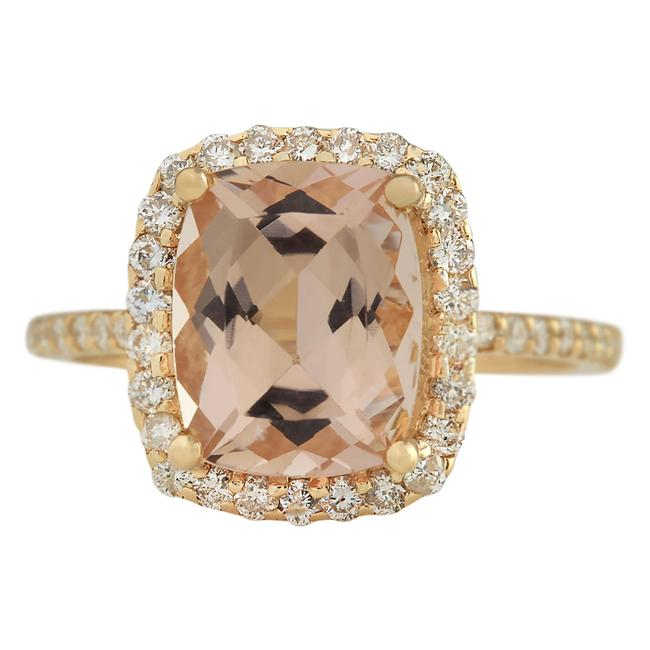 Fashion Strada Peach 3.72 Carat Natural Morganite 14k Yellow Gold Diamond Ring Fashion Strada Peach 3.72 Carat Natural Morganite 14k Yellow Gold Diamond Ring Image 1