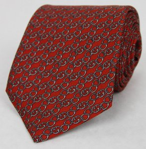 Gucci Red Horsebit Men's Silk Neck with Interlocking G Print 352615 6463 Tie/Bowtie