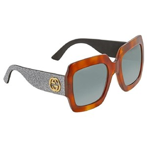Gucci Havana Green Square Glitter Ladies Sunglasses