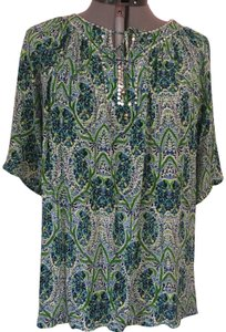 NY Collection Top Blue Pattern