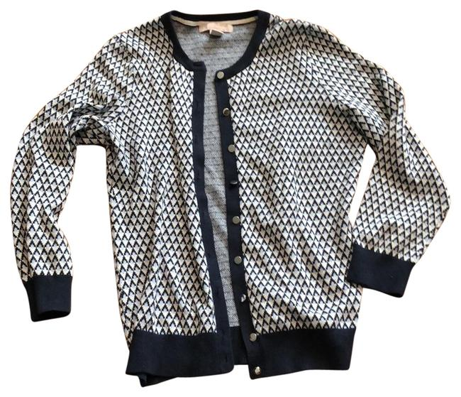 Item - Black Blue and White Button Front Cardigan Size 8 (M)