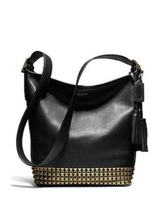 Coach Leather Studded Tassels Cross Body Shoulder Bag