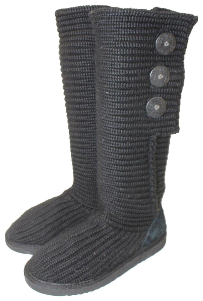 Ugg Australia Black Uggs Womens 38 Classic Cardy 5819 Knit Boots