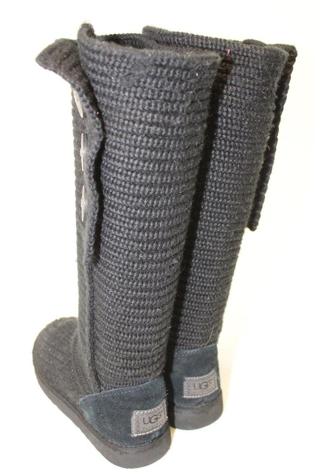 42e383eee84 Black Uggs Womens 38 Classic Cardy 5819 Knit Boots/Booties