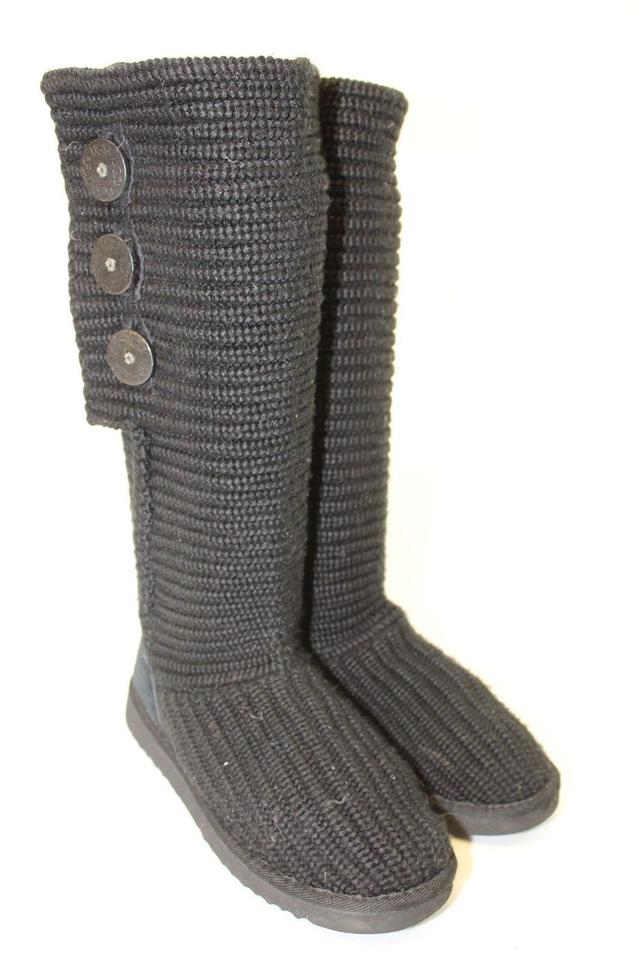 9e03617b49b Black Uggs Womens 38 Classic Cardy 5819 Knit Boots/Booties