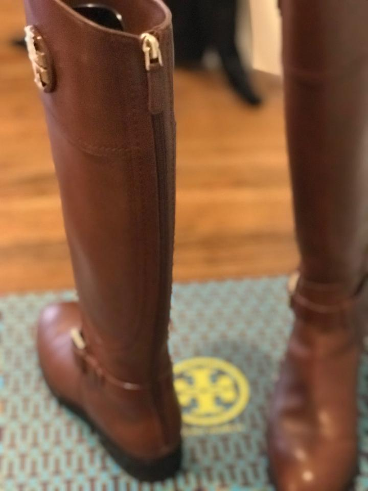 3e4a106d084 Tory Burch Almond (Brown) Adeline 20mm Wide Calf Leather Riding ...