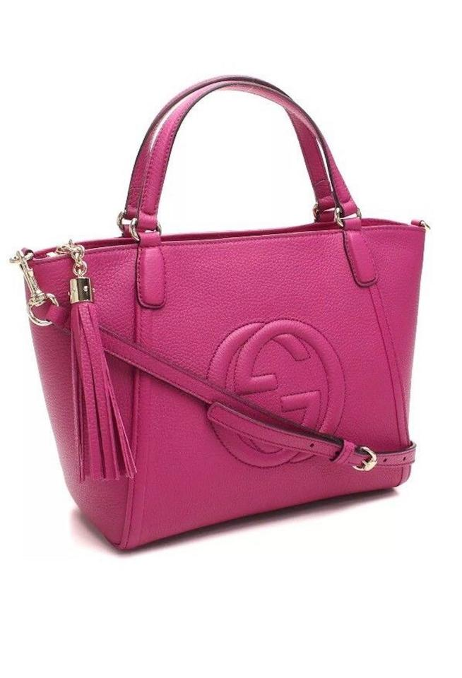 4aeeeef9d3d9 Gucci Tote Soho Womens Gg Purse Italy Magenta Leather Cross Body Bag ...