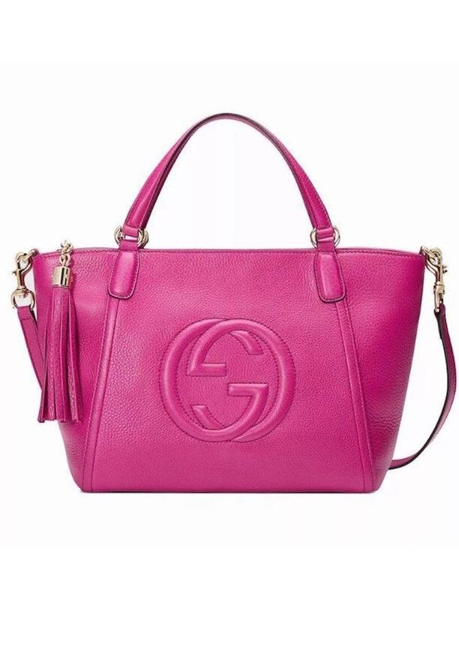 Gucci Soho Womens Gg Purse Tote Italy Magenta Leather Cross Body Bag ... 6c3a2353d00aa
