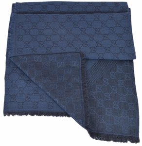 Gucci NEW Gucci 359905 Nile Blue XL Wool Silk Web Stripe GG Guccissima Scarf