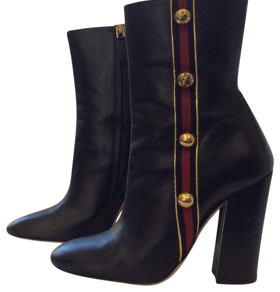 e1ab6aaf6256 Gucci Black Carly Malaga Ankle 39 Leather Web Stripe Gold Buttons Boots  Booties