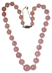 Rose Quartz Antique Swedish Necklace 18k gold hardware