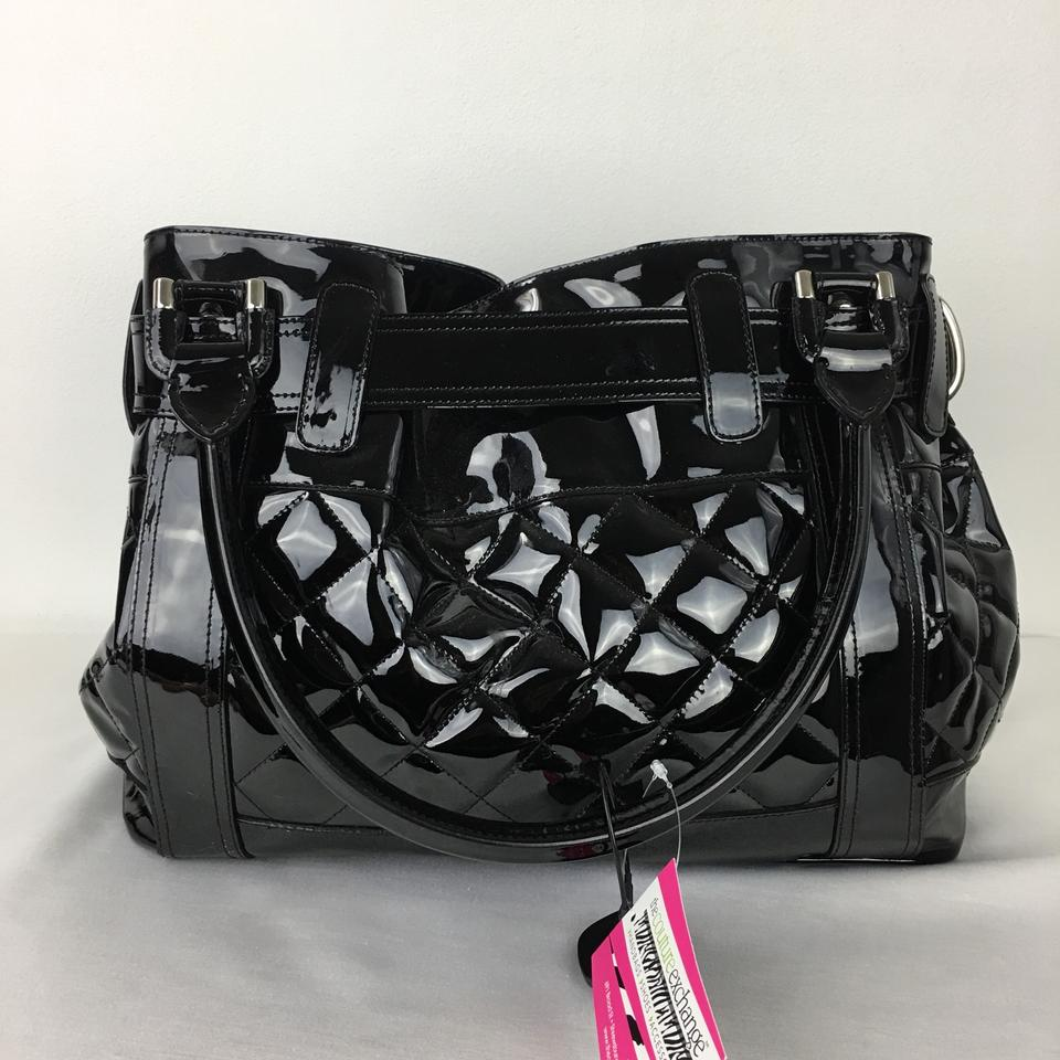 747ed77d8cdf Burberry Xxl Quilted Tote Black Patent Leather Shoulder Bag - Tradesy