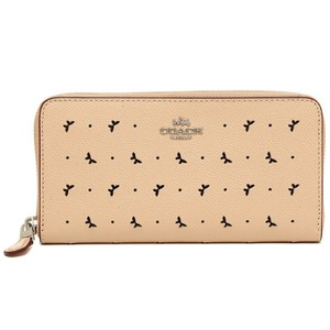 Coach NEW COACH Perforated Butterfly leather Accordion Zip phone long wallet