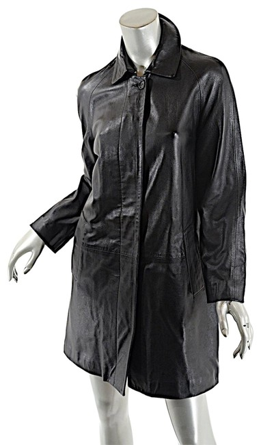 Item - Blackc Softest Leather Nova Check Cotton Lining Coat Size 6 (S)
