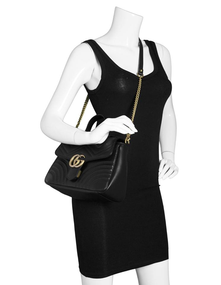 90eb65d7984d Gucci GG Marmont Top Handle Bag Matelasse Small with Db Black Calfskin  Leather Tote - Tradesy