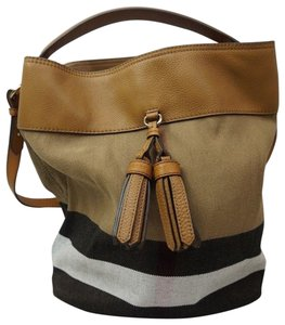 3b2119ea6a65 Added to Shopping Bag. Burberry Shoulder Bag. Burberry Ashby Medium Canvas  Check Tassel Bucket Brown Leather ...