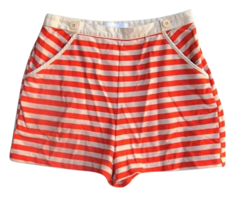 584264641c2 Urban Outfitters Cooperative Orange Striped High Waist Knit Shorts ...