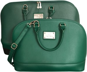 Joy & IMAN Luggage Purse Satchel Wheeled Luggage Faux Leather Green Gold Travel Bag