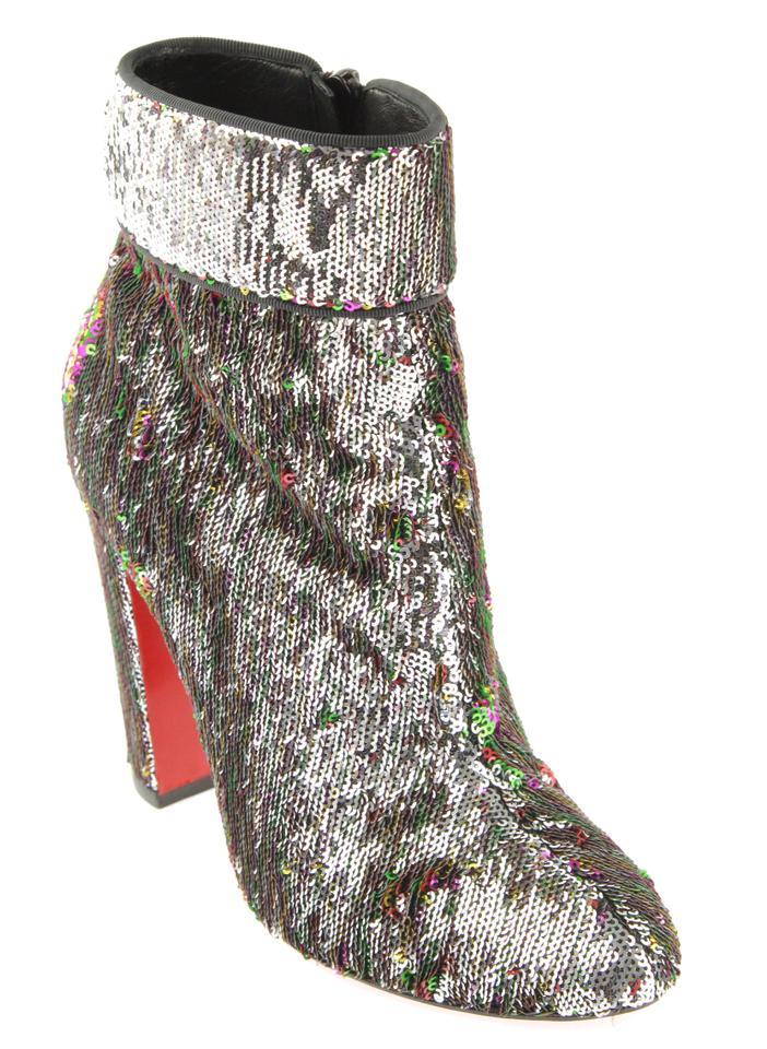 dbc1bbe5f96b Christian Louboutin Silver and Multicolor Moulamax 100 Paillettes Caresse/Gg  Ankle Boots/Booties