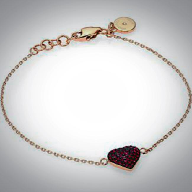 Item - Rose Gold Ruby Red Pave Heart Chain Bracelet