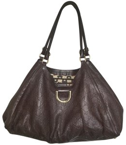 Gucci Sukey Leather Shoulder Designer Leather Tote in Brown