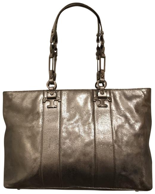 Item - East West Nico Metallic Silver Leather Tote