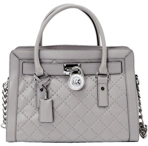 Michael Kors Studded Studs Light Quilt Satchel in Pearl Grey