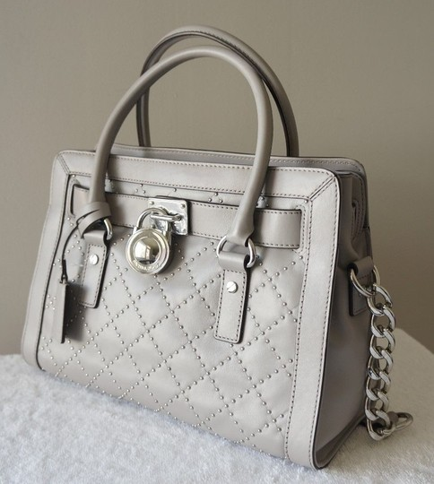 Michael Kors Studded Studs Light Quilt Satchel in Pearl Grey Image 1
