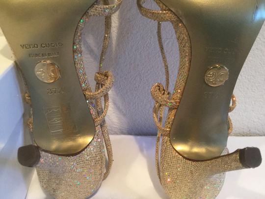 Dolce&Gabbana Shimmering Italian Multi color fabric $ leather Sandals