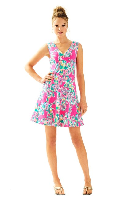 Lilly Pulitzer Pink Dahlia Fit And Flare Short Casual