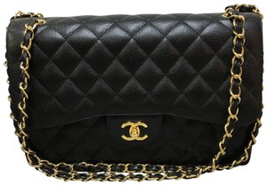 Chanel Caviar Classic Flap Jumbo Satchel in black