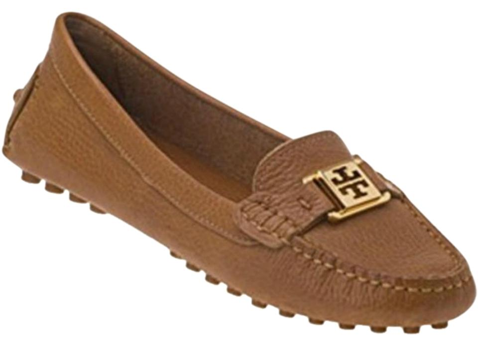 4aff94891f71 Tory Burch Tan Kendrick Tumbled Leather Driver Loafers Royal Flats ...