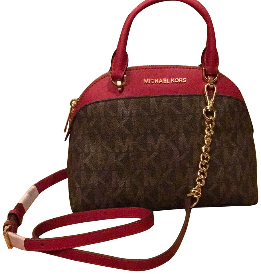 ddc8cb97ec32 Michael Kors Signature Emmy Small Dome Satchel Brown/ Cherry Pvc and ...