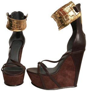 Monika Chiang Wedge Platform Suede Leather Sexy Brown Gold Sandals