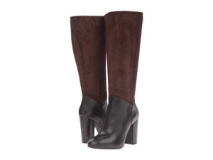 Johnston & Murphy Water-resistant Suede Leather Block Heel Knee High Dark Brown Boots