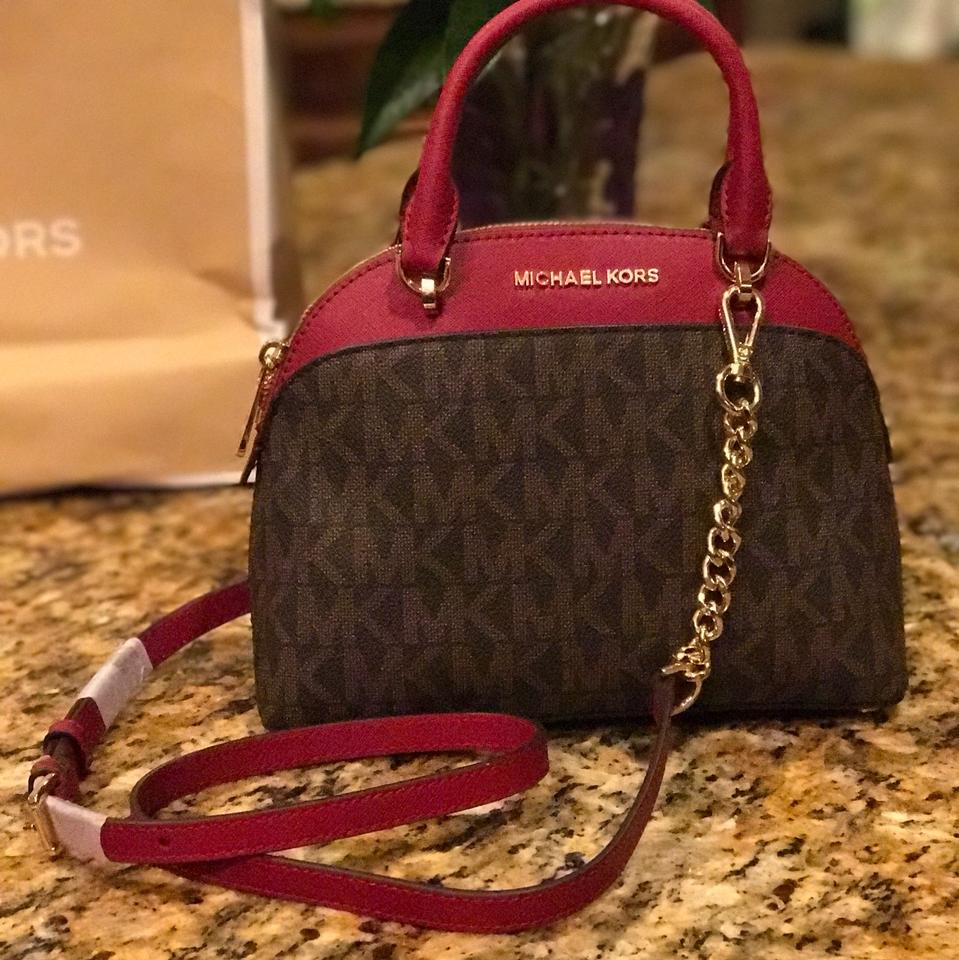 5363f64db016 Michael Kors Signature Emmy Small Dome Satchel Brown/ Cherry Pvc and  Saffiano Leather Cross Body Bag - Tradesy