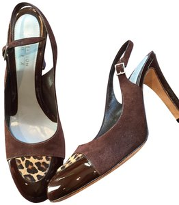 Lambertson Truex Slingback Patent Leather Suede Cheetah Print Calf Fur brown Pumps