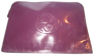 Gucci Clutch/Document Case Tom Ford Era Xl Size W Center Mint Vintage Restored Lining rich eggplant purplish color patent leather with large embossed GG logo Clutch