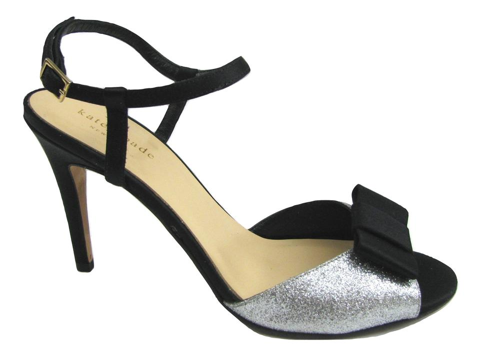 2199a3a1c21 Kate Spade Black Silver Ivy Party Heels Pumps Size US 7.5 Regular (M ...