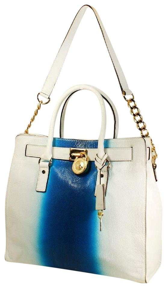 Michael Kors Hamilton North South Large Spray Paint Satchel Summer Blue White Leather Tote 39 Off Retail