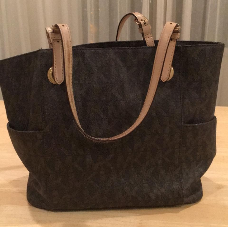 1ad40f70ad909 MICHAEL Michael Kors Jet Set Travel Small Logo Brown Monogram Leather Tote  - Tradesy