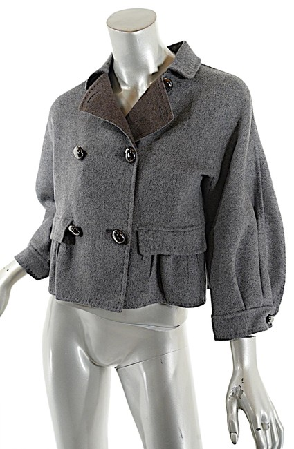 Item - Grey Milano Charcoal New Wool Cashmere Flannel Crop Jkt Jacket Size 8 (M)