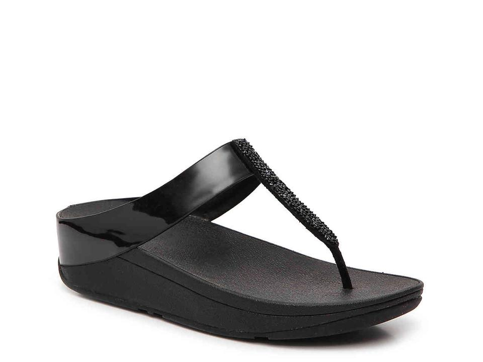 ab1a094b1 FitFlop Black Fino Crystal Toe-thong Sandals Size US 8 Regular (M