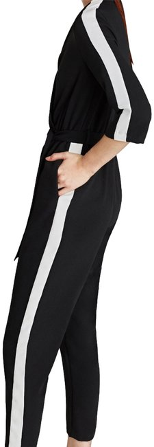 Item - Black and White Jumpsuit with Sideband Pants Size 4 (S, 27)